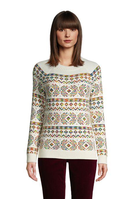 Women's Petite Doubled Crew Neck Sweater - Fairisle