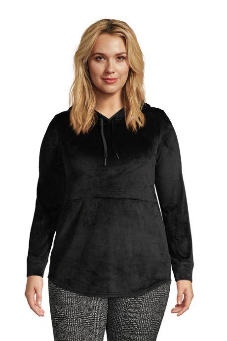 Women's Plus Size Long Sleeve Cozy Hooded Tunic
