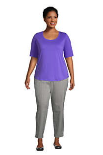 Women's Plus Size Elbow Sleeve Supima Cotton Scoop Neck T-Shirt, alternative image