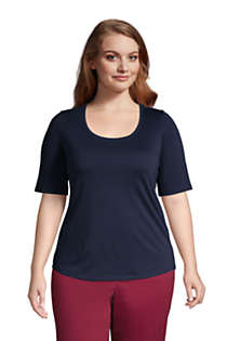 Women's Plus Size Elbow Sleeve Supima Cotton Scoop Neck T-Shirt, Front