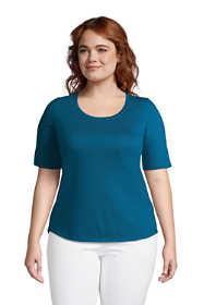 Women's Plus Size Elbow Sleeve Supima Cotton Scoop Neck T-Shirt