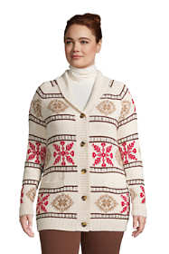 Women's Plus Size Cotton Cable Drifter Shawl Cardigan Sweater - Snowflake