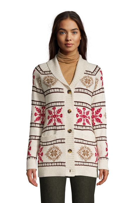 Women's Petite Cotton Cable Drifter Shawl Cardigan Sweater - Snowflake