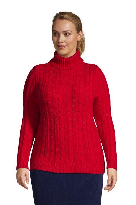 Women's Plus Size Cozy Lofty Bobble Turtleneck Sweater