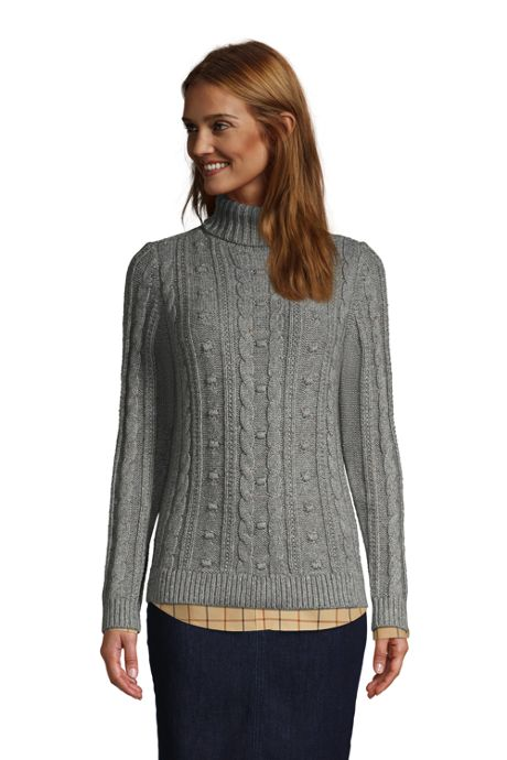 Women's Petite Cozy Lofty Bobble Turtleneck Sweater
