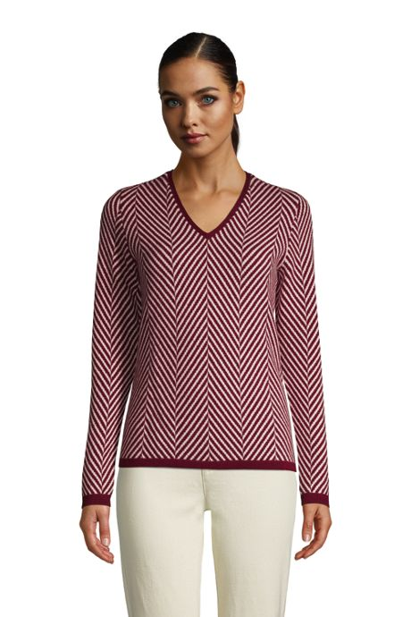 Women's Petite Cashmere V Neck Sweater - Herringbone