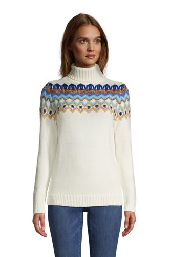 Fairisle Rollkragenpullover im Baumwollmix für Damen in Plus-Größe