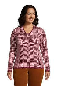 Women's Plus Size Cashmere V Neck Sweater - Herringbone