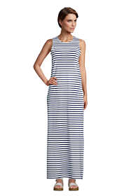 Women's Petite Cotton Jersey Sleeveless Swim Cover-up Maxi Dress Stripe