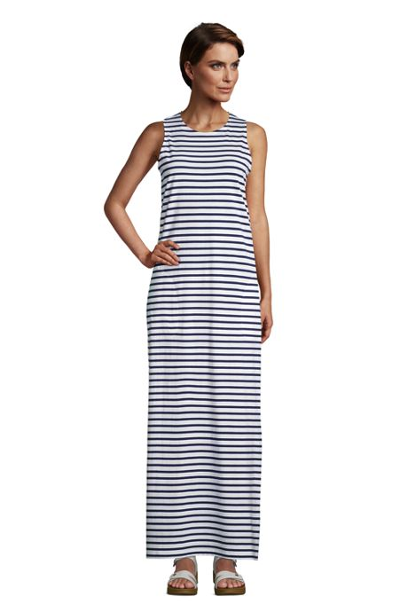 Women's Cotton Jersey Sleeveless Swim Cover-up Maxi Dress Stripe