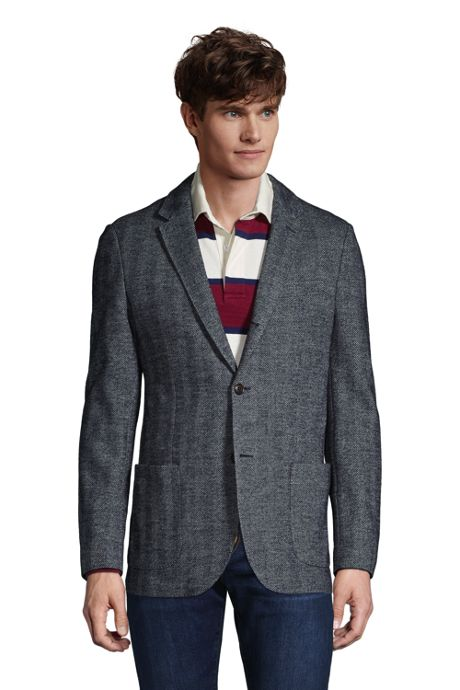 Men's Traditional Fit Italian Knit Blazer