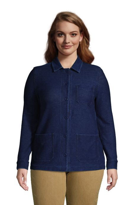 Women's Plus Size Indigo Sport Knit Shirt Jacket