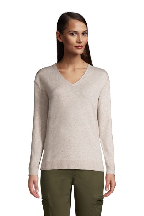 Women's Supima Cotton V-neck Pullover Sweater