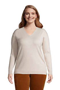 Women's Plus Size Supima Cotton V-neck Pullover Sweater, Front