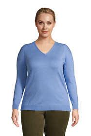 Women's Plus Size Supima Cotton V-neck Pullover Sweater