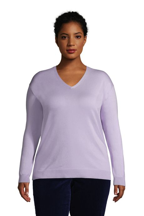 Women's Plus Size Supima Cotton V-neck Pullover Sweater