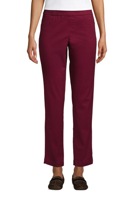 Women's Mid Rise Pull On Chino Ankle Pants