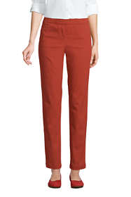 Women's Petite Mid Rise Pull On Chino Ankle Pants