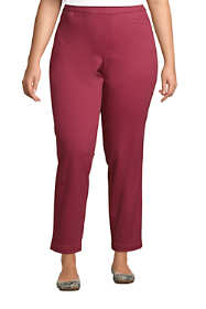 Women's Plus Size Mid Rise Pull On Chino Ankle Pants