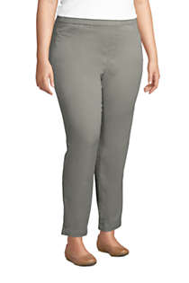 Women's Plus Size Mid Rise Pull On Chino Ankle Pants, alternative image