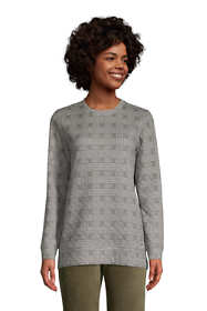 Women's Petite Long Sleeve Quilted Sweatshirt Tunic