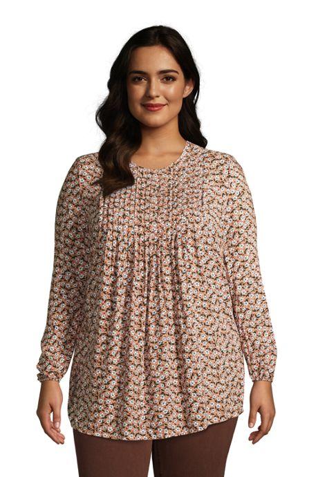Women's Plus Size Rayon Long Sleeve Pintuck Tunic Top Print