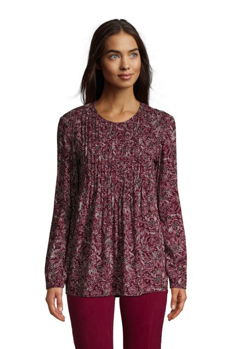 Women's Rayon Long Sleeve Pintuck Tunic Top Print