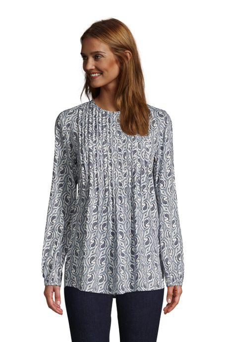 Women's Rayon Long Sleeve Pintuck Tunic Top Print