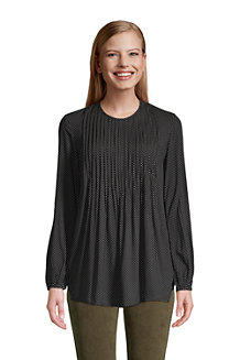 Women's Rayon Long Sleeve Pintuck Print Tunic