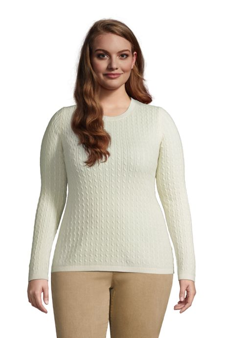 Women's Plus Size Cashmere Cable Sweater