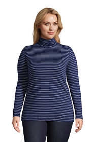 Women's Plus Size Supima Cotton Long Sleeve Stripe Turtleneck Tunic