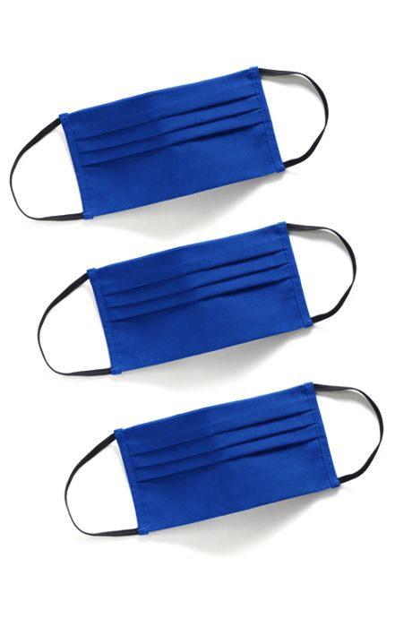 3 Pack of Large Pleated Polyester Cotton Reusable and Washable Custom Face Masks