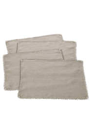 Saro Lifestyle Pom Pom Trimmed Linen Placemats - Set of 4