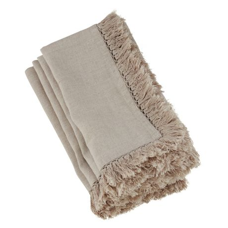 Saro Lifestyle Rustic Fringed Linen Dinner Napkins - Set of 4