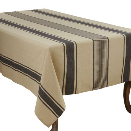 Saro Lifestyle 65x180 Banded Pattern Cotton Rectangle Tablecloth