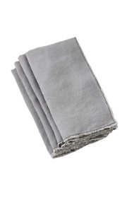 Saro Lifestyle Stone Washed Fringed Linen Dinner Napkins - Set of 4