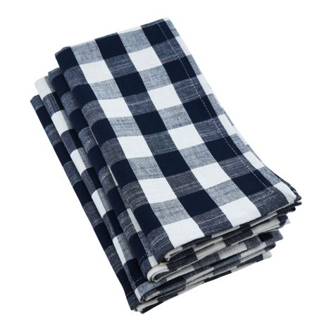 Saro Lifestyle Gingham Cotton Dinner Napkins - Set of 4