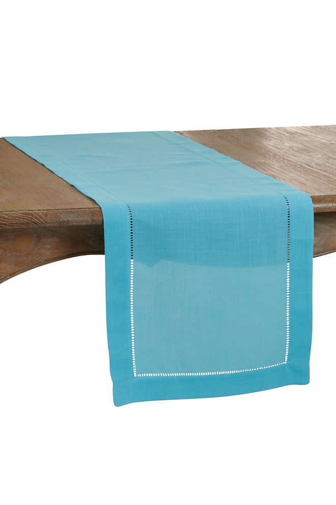 Saro Lifestyle 16x72 Classic Hemstitch Border Table Runner, Front