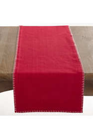 Saro Lifestyle Whip Stitched Cotton Table Runner