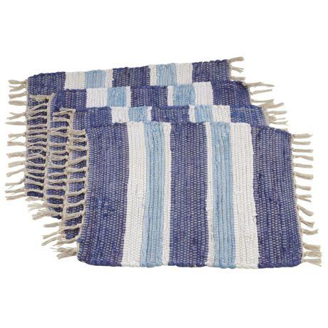 Saro Lifestyle Tasseled Chindi Cotton Placemats - Set of 4