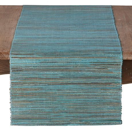 Saro Lifestyle Shimmering Woven Textured Water Hyacinth Table Runner