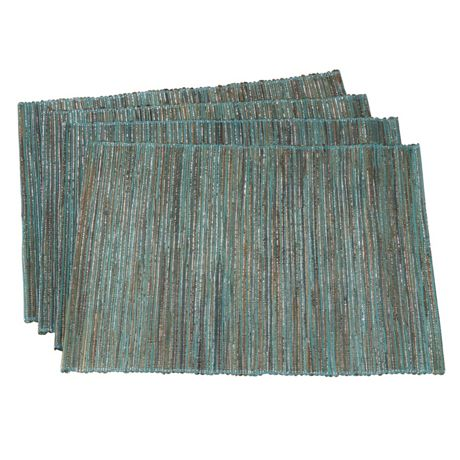 Saro Lifestyle Shimmering Woven Textured Water Hyacinth Placemats - Set of 4