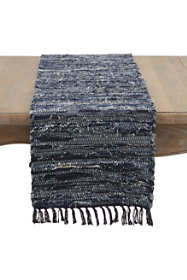 Saro Lifestyle Denim Chindi Cotton Table Runner