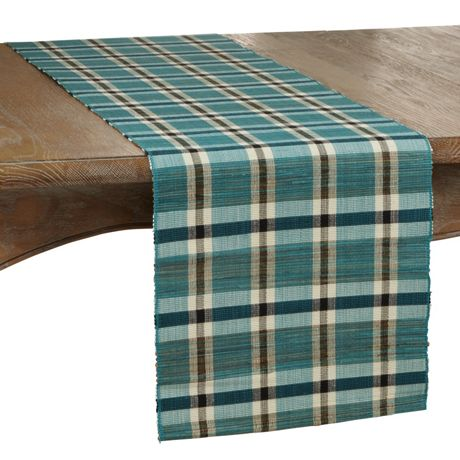 Saro Lifestyle Plaid Woven Water Hyacinth Table Runner