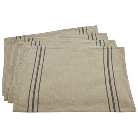 Saro Lifestyle Simple Striped Linen Placemats - Set of 4