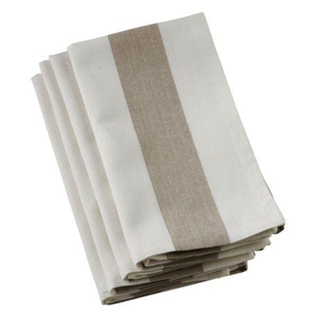 Saro Lifestyle Wide Stripe Cotton Dinner Napkins - Set of 4