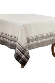 Saro Lifestyle 65x90 Plaid Border Cotton Rectangle Tablecloth