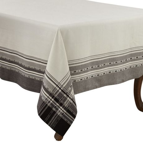 Saro Lifestyle 65x90 Plaid Border Cotton Rectangle Tablecloth