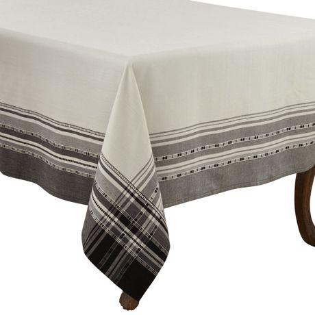 Saro Lifestyle 65x65 Plaid Border Cotton Square Tablecloth
