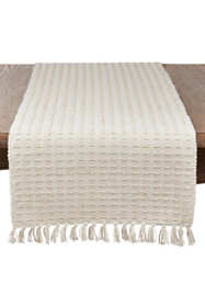 Saro Lifestyle Dashed Woven Cotton Table Runner